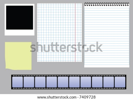 paper and slides vector set - stock vector