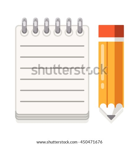 Paper and yellow pencil. Notepad. Vector flat illustration on white background.