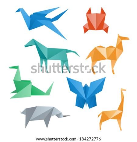 Paper animals wildlife, crane, horse, camel, crab, dragon, rhino, giraffe, butterfly, origami style. - stock vector