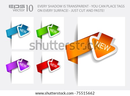 Paper Arrow Style tags with TRANSPARENT shadows. You can pleace it on every surface! - stock vector