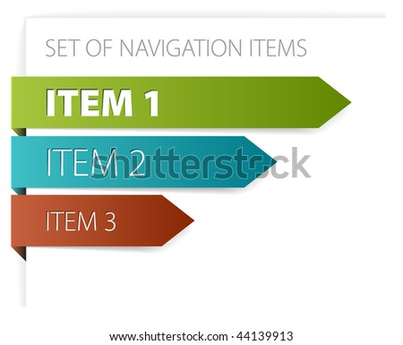 Paper arrows - modern navigation items on white background (vector) - stock vector