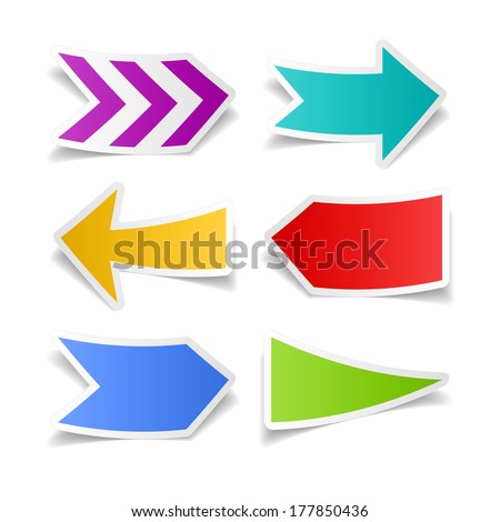 Paper arrows set. Vector.