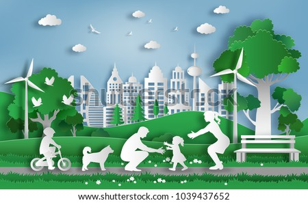 Paper art style of family enjoy fresh air in the park with baby to make first steps on grass, eco green city, flat-style vector illustration.