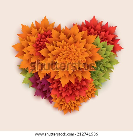 paper autumn leaves heart background - vector - stock vector