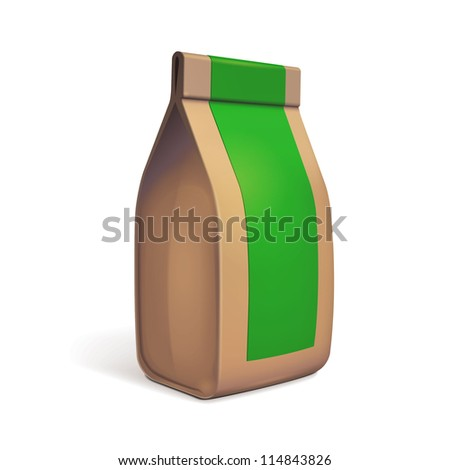 Paper Bag Package Of Coffee, Salt, Sugar, Pepper, Spices Or Flour, Filled, Folded, Close, Brown With Green Label. Ready For Your Design. Snack Product Packing Vector EPS10 - stock vector