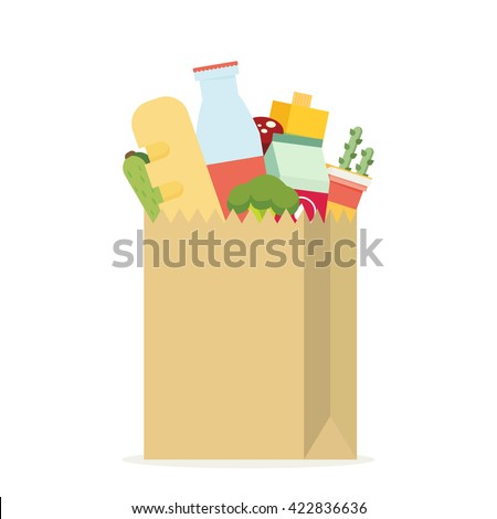 Paper bag, package with food and drink products. Flat design colored vector illustration - stock vector