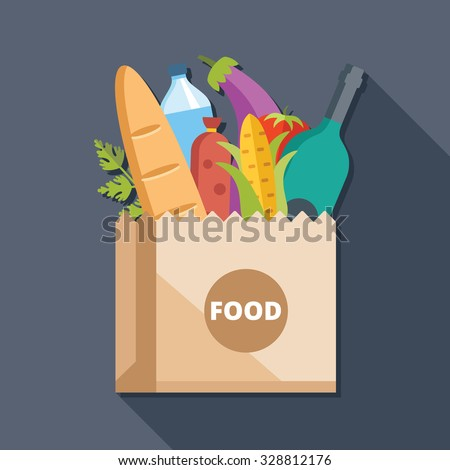 Paper bag with food flat illustration concept. Creative modern flat icon with long shadow. Vector illustration - stock vector