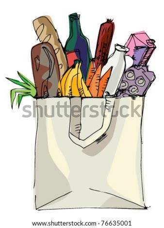 paper bag with food inside - stock vector