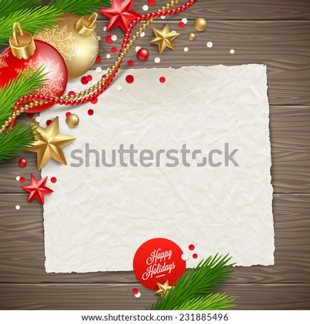 Paper banner for holidays greeting message and Christmas decoration on a wooden background - vector illustration - stock vector