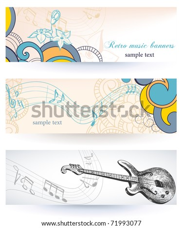 Paper banners on music theme - stock vector