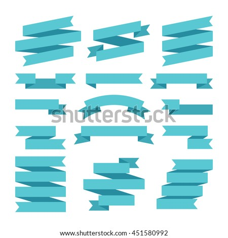 Paper banners ribbons in origami style. Set of banner ribbon templates for decoration and advertisement. Vector illustration - stock vector