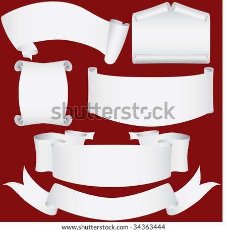 Paper banners, scrolls and diploma set (vector, CMYK) - stock vector