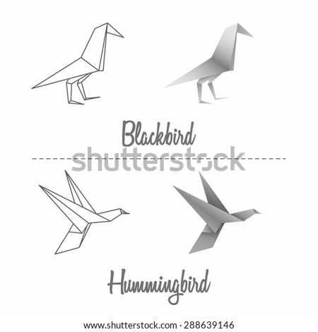 Paper blackbird and hummingbird set in japanese origami style - stock vector