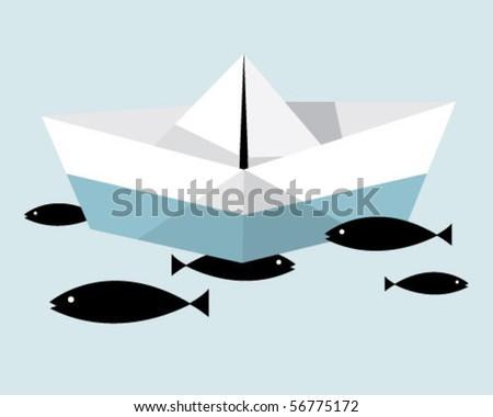 paper boat. - stock vector