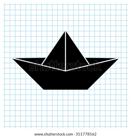 paper boat - black vector icon