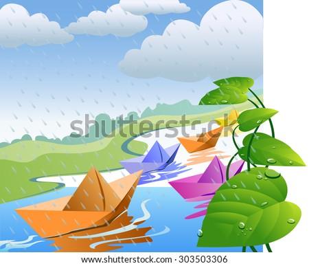 Paper boat in rainy water - Vector - stock vector