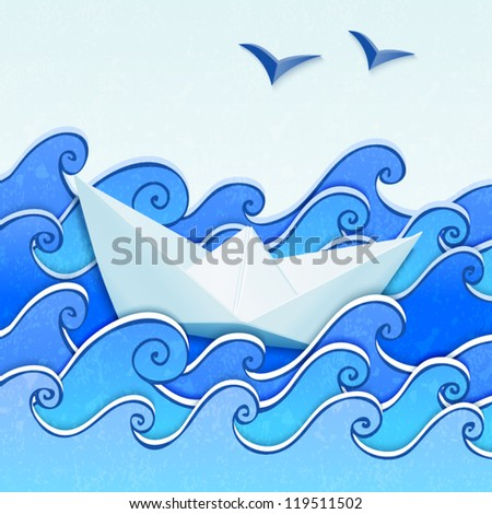 Paper boat in the blue sketched paper sea with seagulls - stock vector