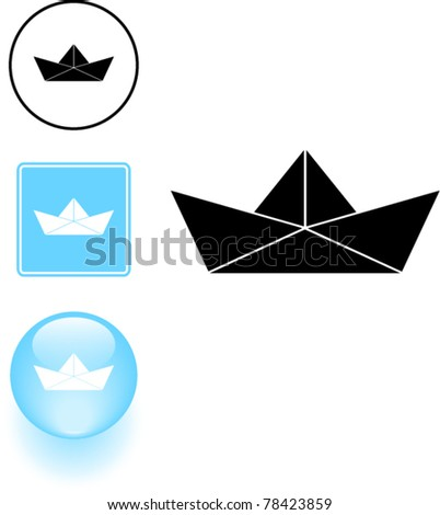 paper boat symbol sign and button