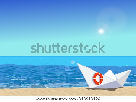 Paper boat with rescue circle, on beach sand, ocean and sun on the background, vector illustration - stock vector