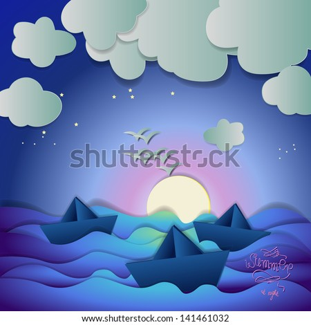 Paper Boats And Birds On Summer Night Background - Vector Illustration, Graphic Design Editable For Your Design - stock vector