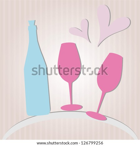 Paper bottle and glasses - romantic vector background for St.Valentine's Day
