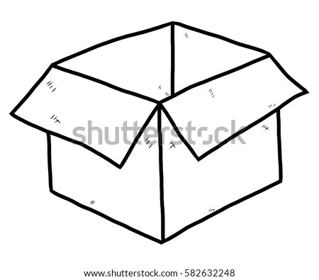 Paper Box Cartoon Vector Illustration Black Stock Vector 582632248 - Shutterstock