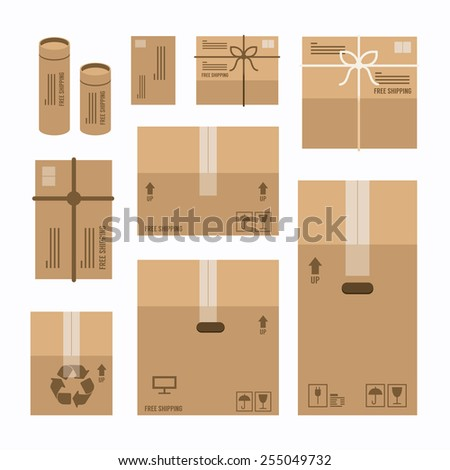 paper boxes set product package mockup design,vector  - stock vector