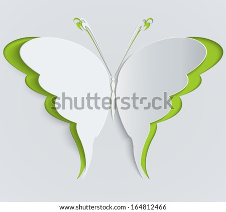 Paper butterfly. Decoration, greeting card - stock vector