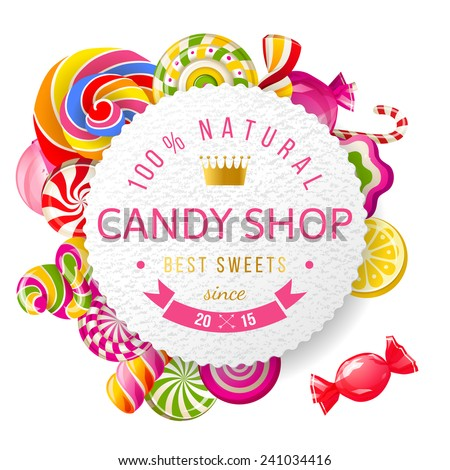Paper candy shop label with type design and nuts - stock vector
