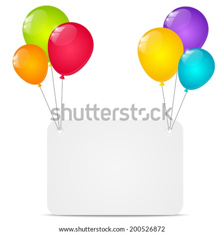 Paper card with color balloons - stock vector