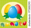 Paper card with Easter eggs and flowers, illustration - stock vector