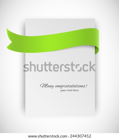 Paper card with ribbon tape in green color - stock vector