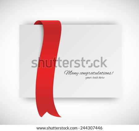 Paper card with ribbon tape in red color - stock vector
