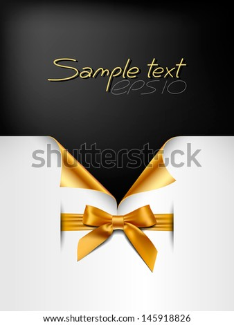 paper card with the corners and bow - stock vector