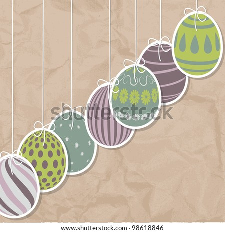 Paper card with vintage Easter eggs - stock vector