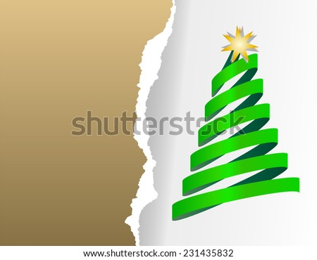 Paper Christmas cards with Christmas tree from ribbon with star. Ripped paper gold, silver background - stock vector