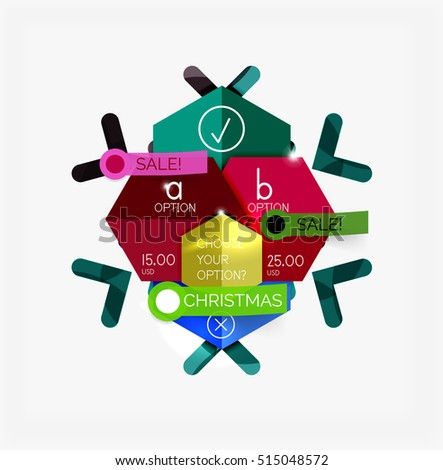 Paper Christmas Greeting Card Banners with text. Holiday geometric templates. Vector illustration