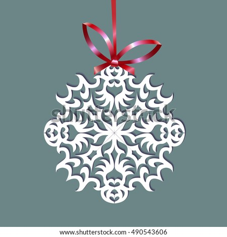 Paper Christmas snowflake on a ribbon, vector illustration