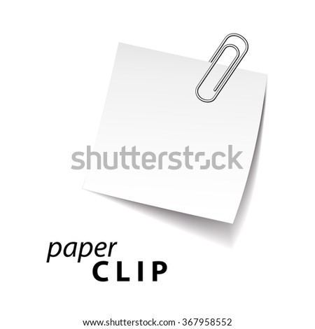 paper clip for text on white background - stock vector