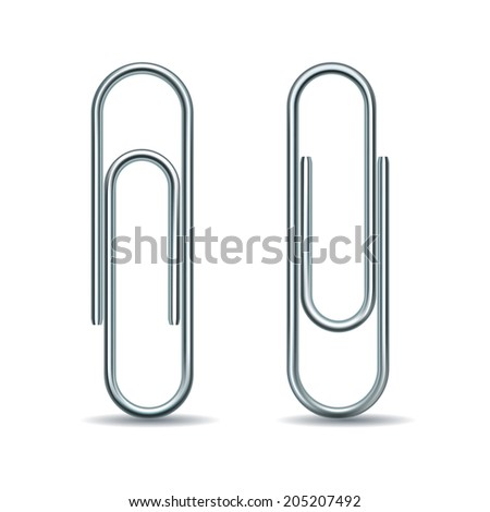 Paper clip isolated on white background. Vector illustration - stock vector