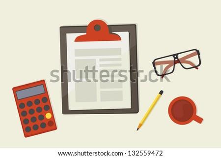 paper clipboard on desk - stock vector
