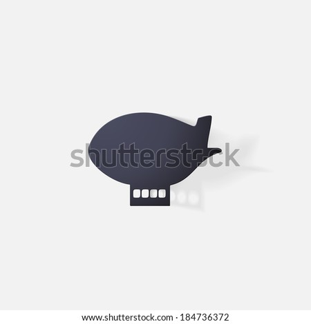 Paper clipped sticker: aircraft airship.  - stock vector