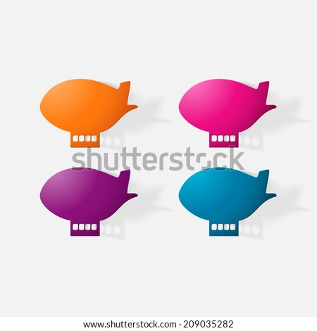 Paper clipped sticker: aircraft airship. Isolated illustration icon - stock vector