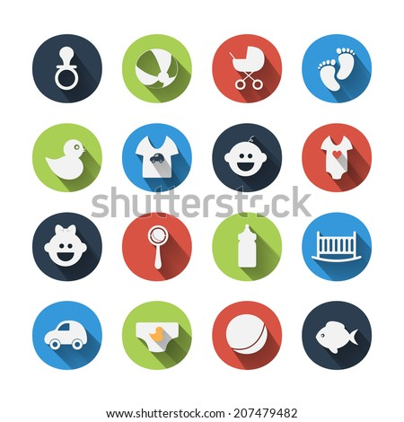 Paper clipped sticker: Baby set. Isolated illustration icon - stock vector