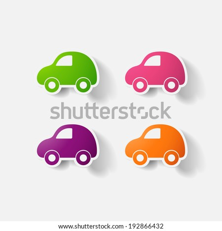Paper clipped sticker: car. Isolated illustration icon - stock vector