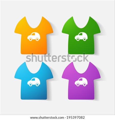 Paper clipped sticker: Children's T-shirt. Isolated illustration icon - stock vector