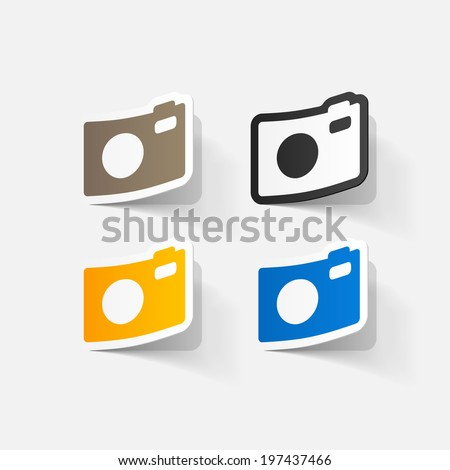 Paper clipped sticker: Digital compact photo camera. Isolated illustration icon - stock vector