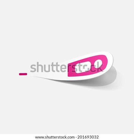 Paper clipped sticker: medical thermometer. Isolated illustration icon - stock vector