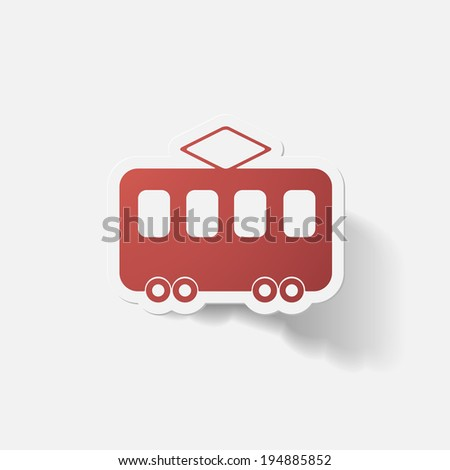 Paper clipped sticker: tram. Isolated illustration icon - stock vector