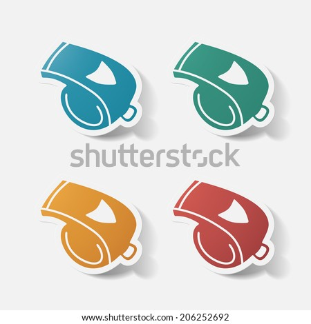 Paper clipped sticker: whistle. Isolated illustration icon - stock vector